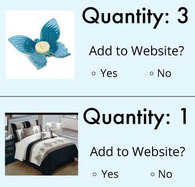 Add low-quantity items to your website